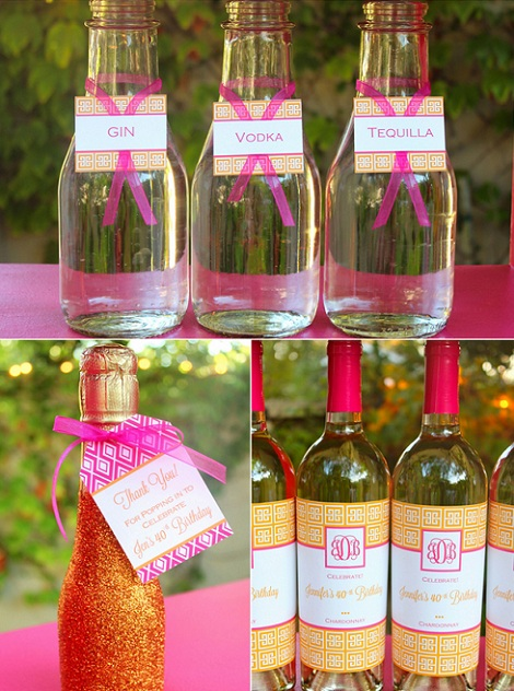 40 cumpleaños rosa naranja bebida