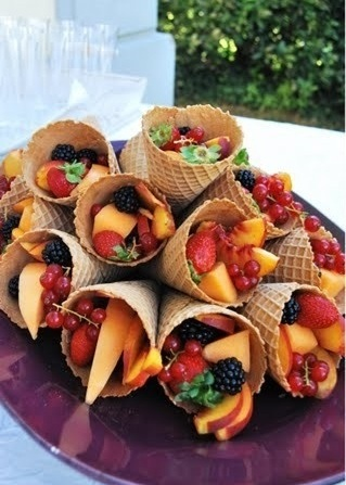 aperitivos cumpleaños conos fruta