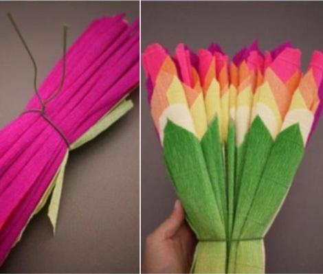 flores de papel pinocho puntas