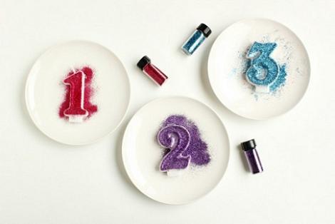 Velas de cumpleaños con purpurina