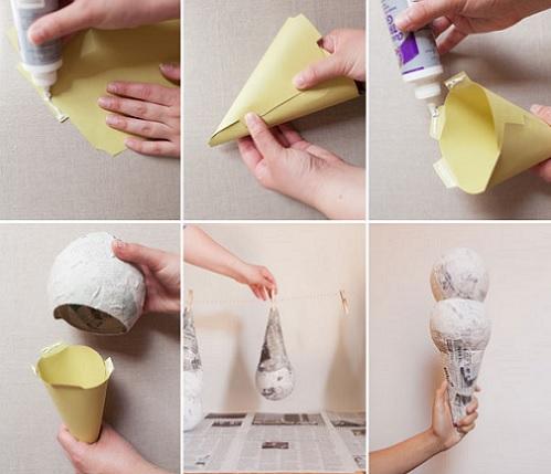 como hacer piñata helados cono