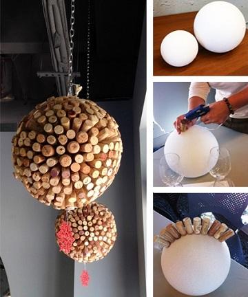 manualidades corcho lampara
