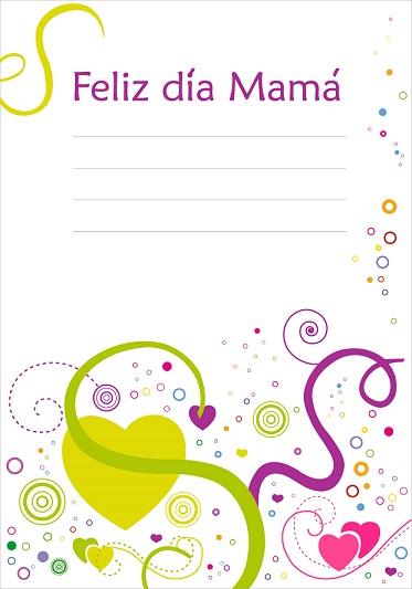 tarjetas dia de la madre para imprimir corazones