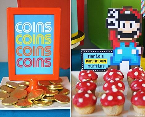 cumpleanos frikis videojuegos mario bros monedas
