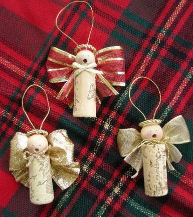 decoracion fiestas corchos botellas angeles navidad