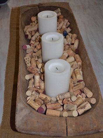 decoración fiestas corchos botellas centro mesa