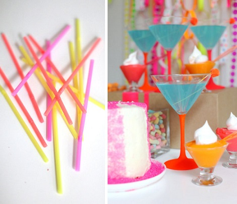 fiesta neon pajitas