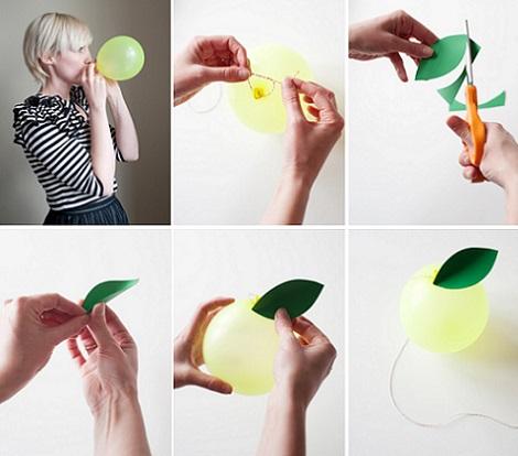 hacer globos forma fruta limon