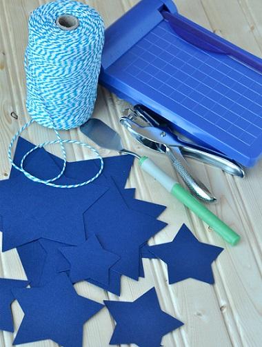 como hacer guirnalda papel estrellas materiales