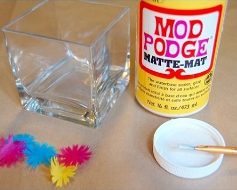 decorar vasos velas cola