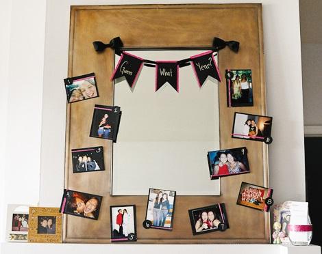 decoración con fotografías para cumpleaños